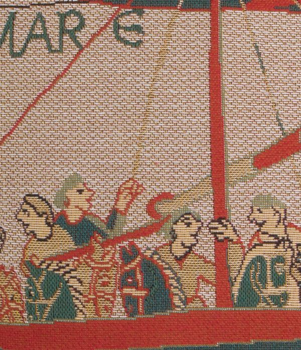 Phot of The Bayeux Tapestry Navire Tapestry Cushion