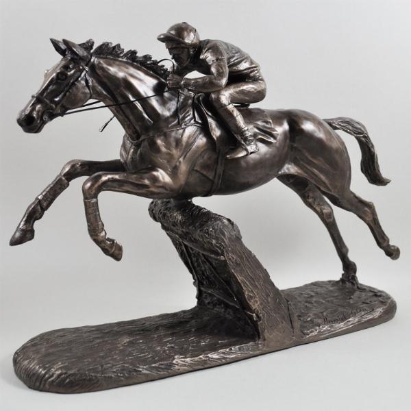 Photo of The Hurdler Cold Cast Bronze Horse and Jockey Horse Racing Sculpture by Harriet Glen