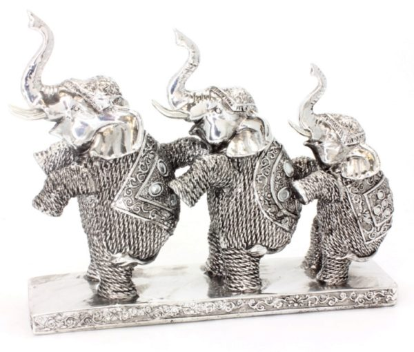Photo of Three Elephants Silver Art Leonardo Collection 28 cm