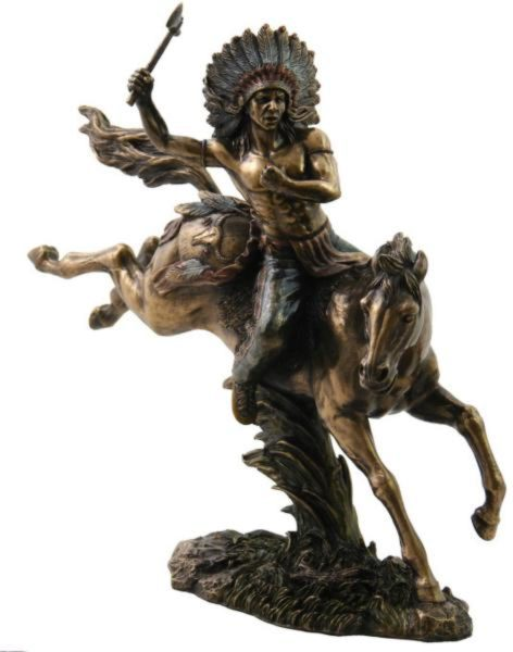 Photo of Tomahawk Warrior on Horseback Bronze Figurine 31cm
