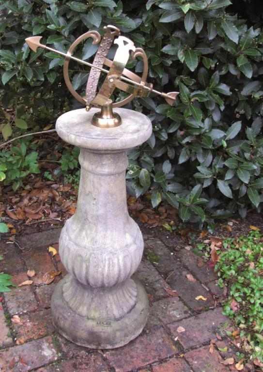 Photo of Victorian Stone Column with Brass Armillary