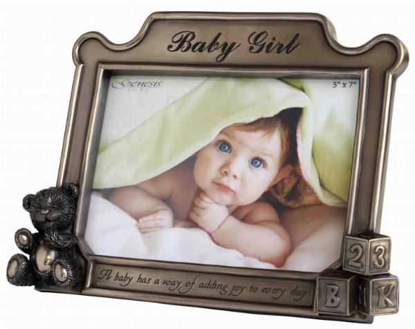 Photo of Baby Girl Bronze Frame