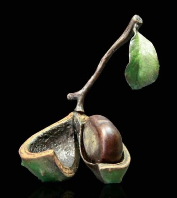 Photo of Conker Removable Conker Bronze Sculpture (Limited Edition) Michael Simpson Nature Trail