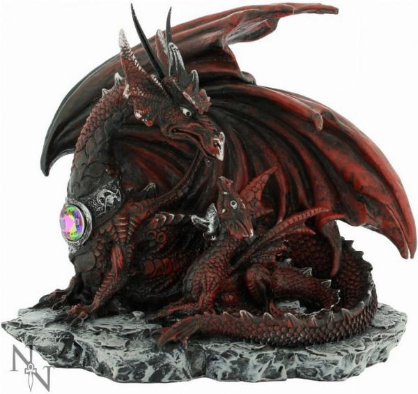 Photo of Fire Dragon and Dragonling Figurine 19cm