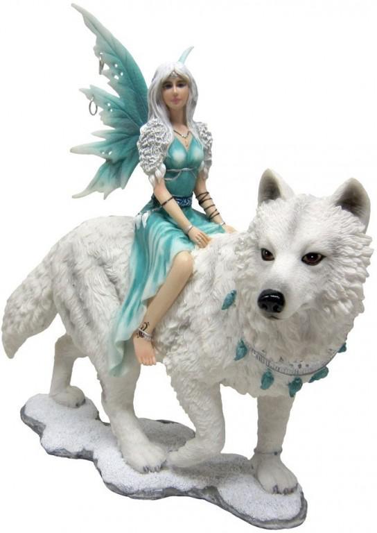 Photo of Frostine Fairy Wolf Rider Statue