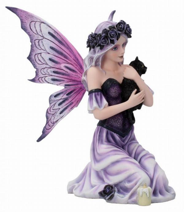 Photo of Gothic Rose Fairy Holding Black Cat Twilight Comfort Figurine 25cm