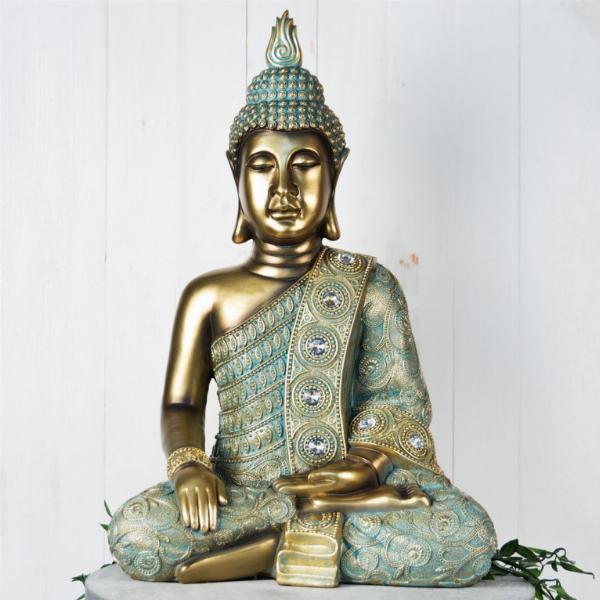 Photo of Large Sitting Buddha Figurine 52 cm Verdigris Bronze