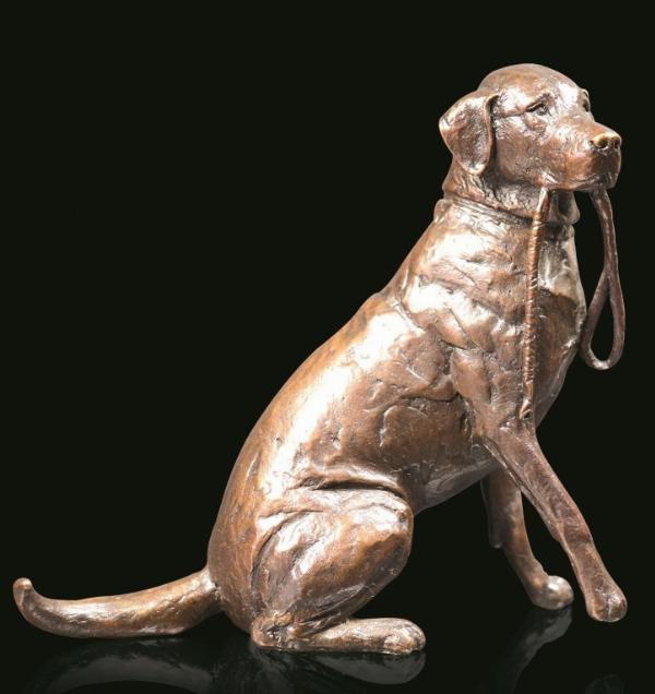 Photo of Medium Labrador with Lead Sitting Bronze Figurine (Limited Edition) Michael Simpson