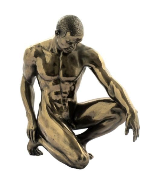 Photo of Melancholy Nude Male Bronze Figurine