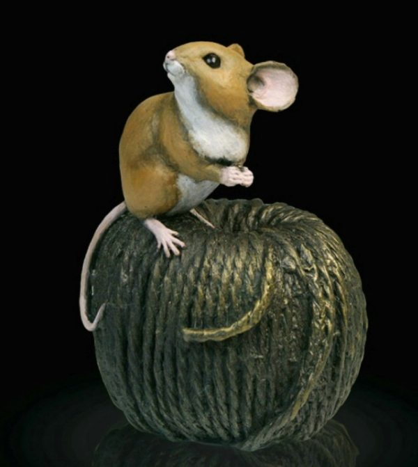 Photo of Mouse on Ball of Twine Bronze Figurine Michael Simpson