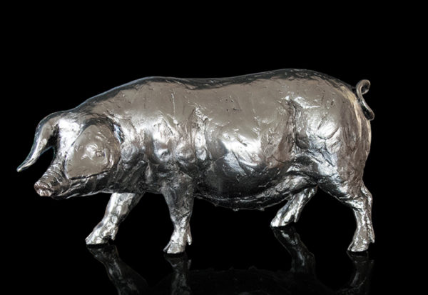 Photo of Pig Nickel Plated Figurine 26 cm Michael Simpson