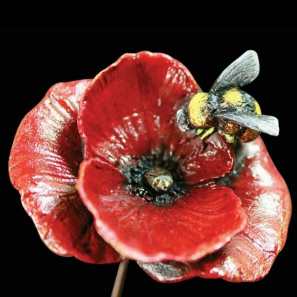 Photo of Poppy with Honey Bee Bronze Figurine (Limited Edition) Keith Sherwin
