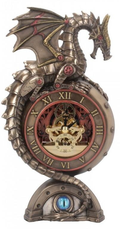 Photo of Steampunk Dragon Clock Bronze Figurine