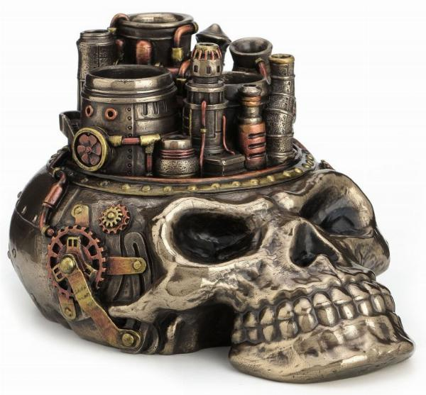 Photo of Steampunk Skull City Pen Holder Ornament