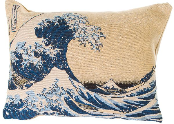Phot of The Great Wave Off Kanagawa By Hokusai Tapestry Cushion