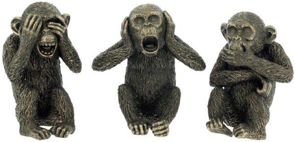 Photo of Three Wise Monkeys Bronze Figurines (Set of 3)