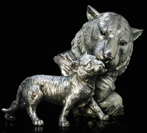 Photo of Tiger and Cub Nickel Plated Figurine 30 cm Keith Sherwin
