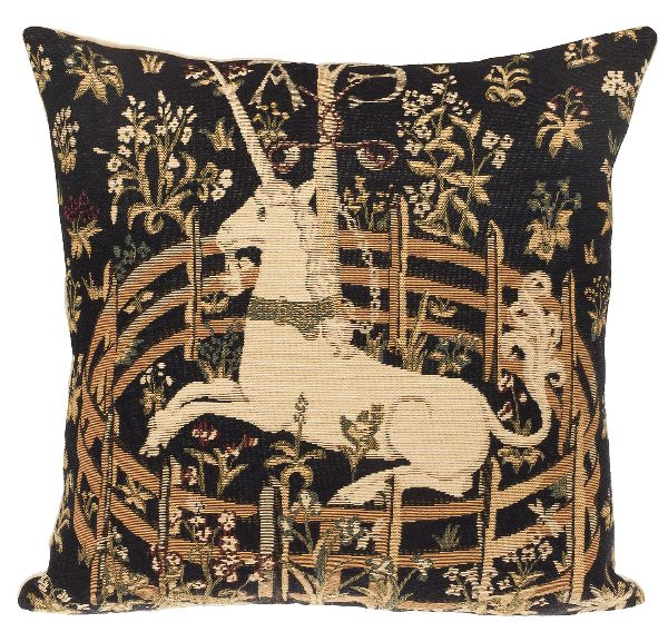 Phot of Unicorn In Captivity Medieval Tapestry Cushion