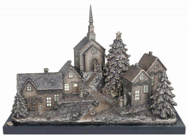 Photo of Christmas Village Bronze Figurine Large