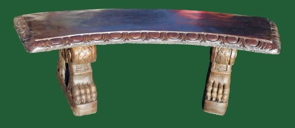 Phot of Curved Top Scroll Bases Stone Bench