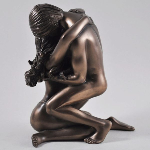 Photo of Golden Moment Nude Lovers Bronze Figurine (Love is Blue) 15cm