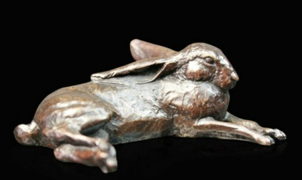 Photo of Hare Lying Small Bronze Figurine (Limited Edition) Michael Simpson