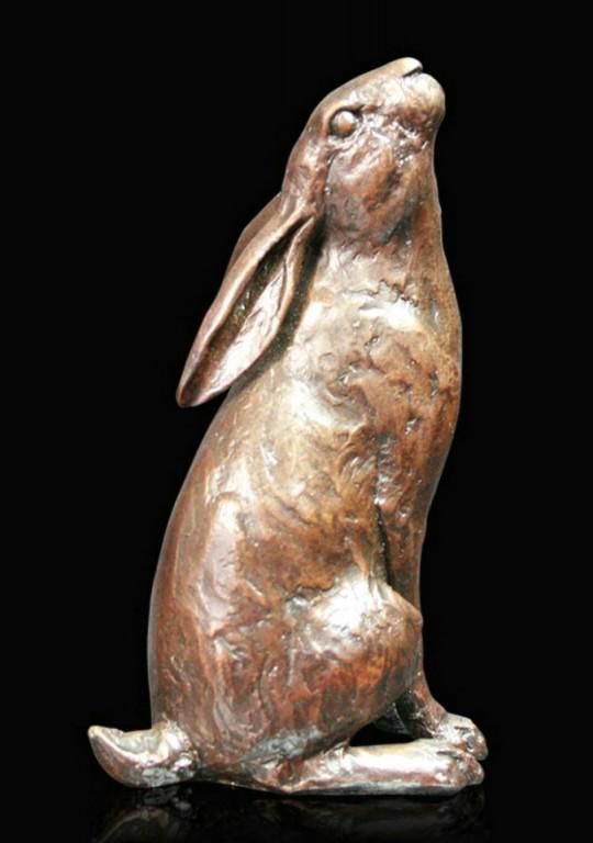 Photo of Hare Moon Gazing Bronze Figurine (Limited Edition) Michael Simpson