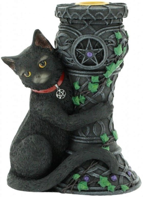Photo of Midnight Black Cat Candle Holder 15cm