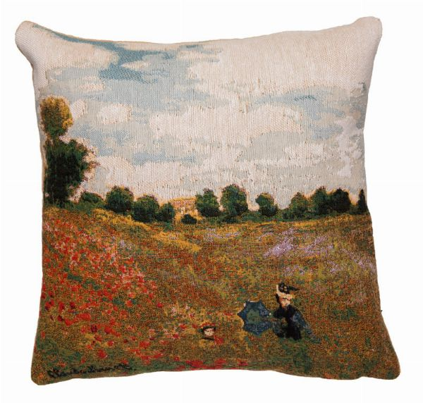 Phot of Poppies By Monet Tapestry Cushion