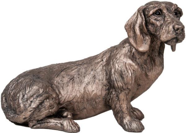 Photo of Rudi Dachshund Dog Sitting Bronze Sculpture Harriet Dunn