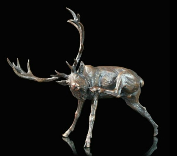 Photo of Stag Preening Bronze Sculpture (Limited Edition) Michael Simpson
