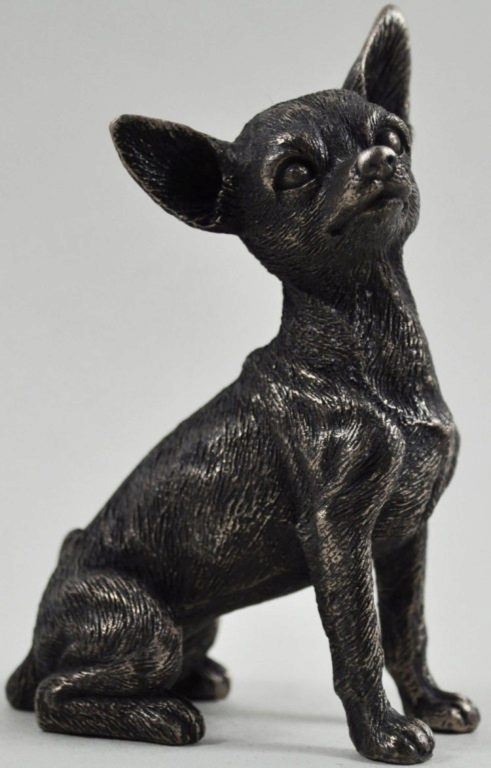Photo of Chihuahua Sitting Bronze Dog Sculpture 8.5cm Small