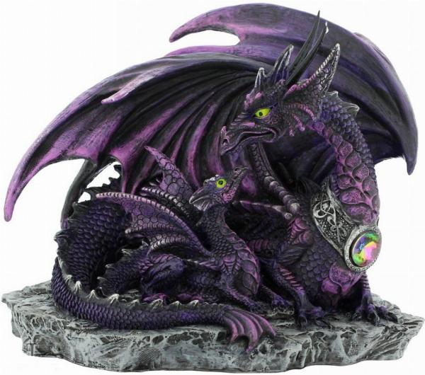 Photo of Dark Dragon with Youngling Dragon Figurine 19cm