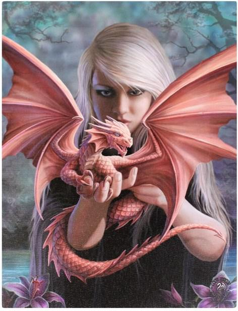 Photo of Dragon Kin Canvas Picture (Anne Stokes) 25 x 20 cm
