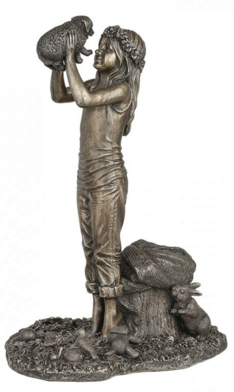 Photo of Grow Together Bronze Girl and Dog Figurine 25 cm