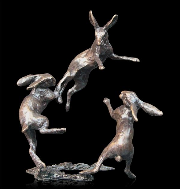 Photo of Hares Dancing Bronze Miniature Collection Centerpiece (Butler and Peach)