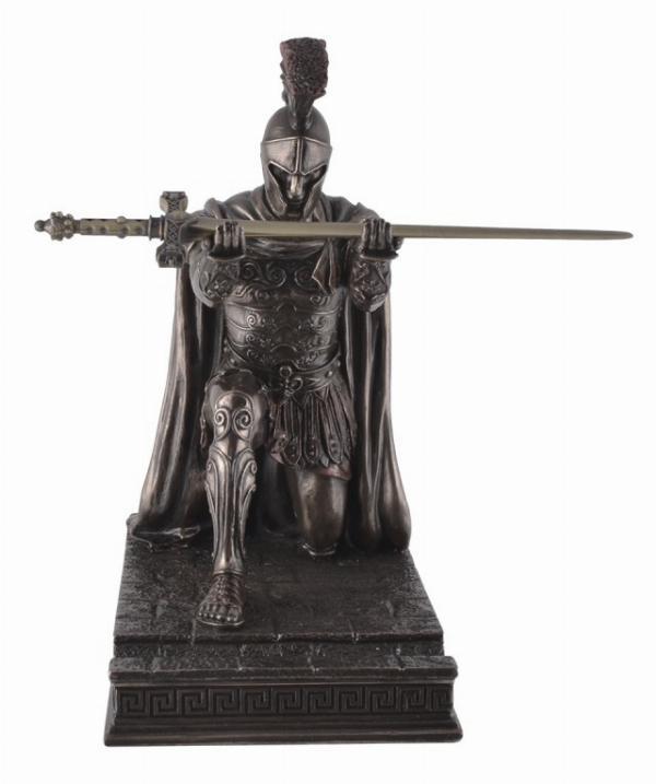 Photo of Roman Centurion Kneeling Bronze Figurine with Letter Opener Sword