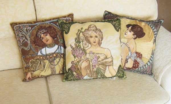 Phot of Spring By Mucha Tapestry Cushion