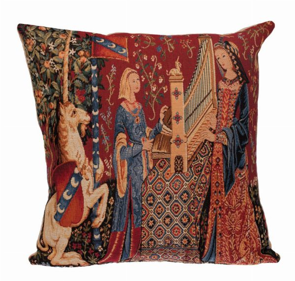 Phot of The Hearing Medieval Tapestry Cushion
