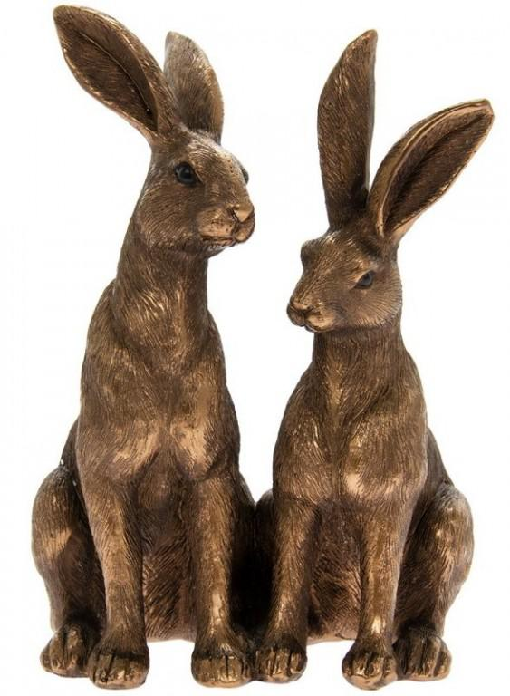 Photo of Two Hares Sitting Bronze Figurine Leonardo Collection