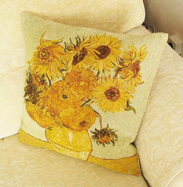 Phot of Van Gogh Sunflowers Tapestry Cushion