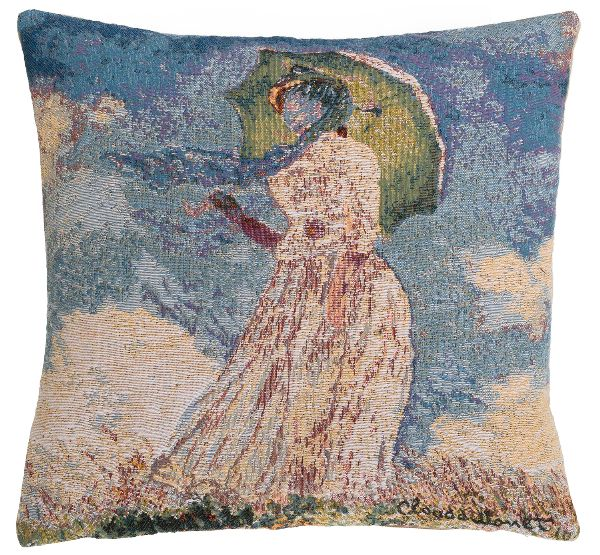 Phot of Woman With A Parasol By Monet Tapestry Cushion