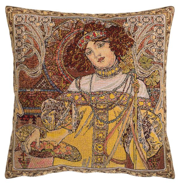 Phot of Autumn By Mucha Tapestry Cushion