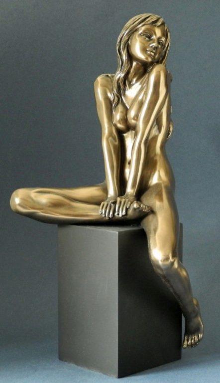 Photo of Bronze Nude Female Figurine on Plinth Large 37 cm