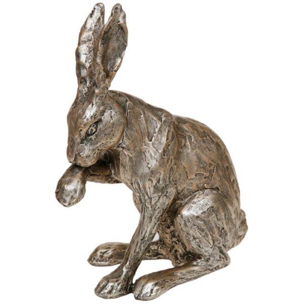 Photo of Champagne Bronze Hare Sitting Figurine