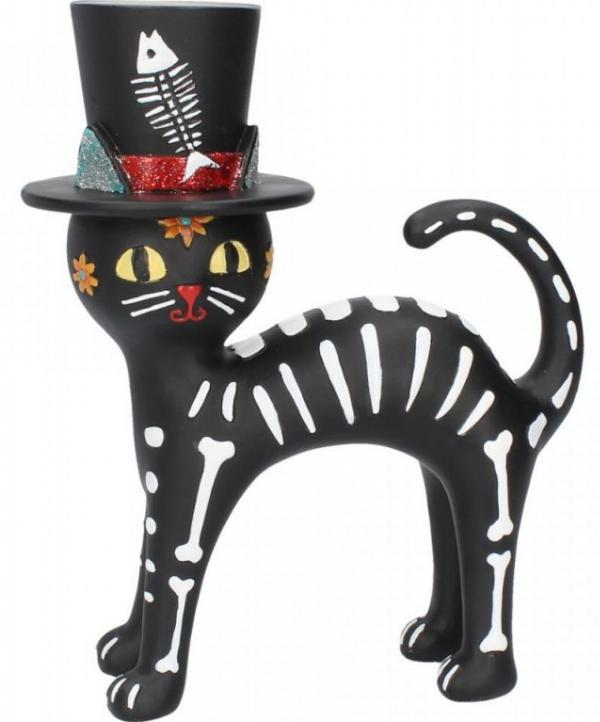 Photo of Day of the Dead Top Hat Cat Figurine