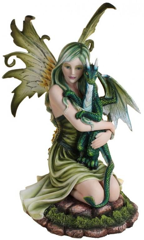 Photo of Forest Fairy and Dragon Figurine 29cm