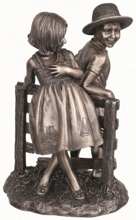Photo of Happy Summer Boy and Girl Bronze Figurine 22cm