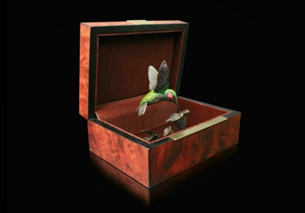Photo of Hummingbird Bronze Figurine with Wooden Presentation Box (Limited Edition) Keith Sherwin