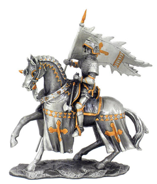 Photo of Knight on Horse with Flag Pewter Figurine